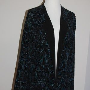 Chico's Travellers jacket black/blue/green NWT sz2